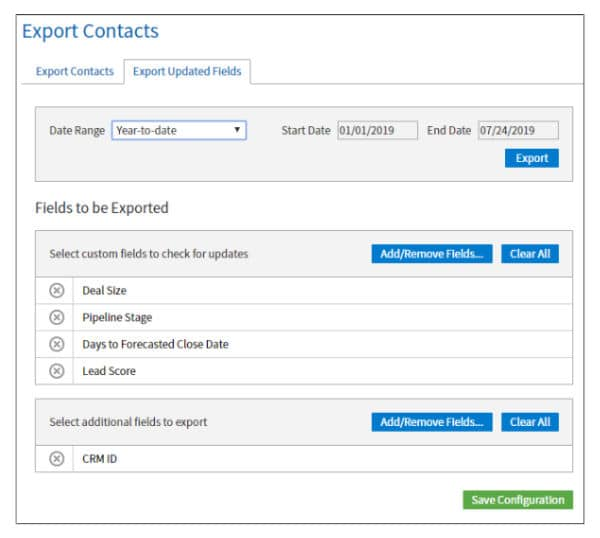 Export Updated Fields