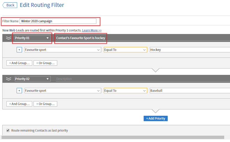 editing routing filter