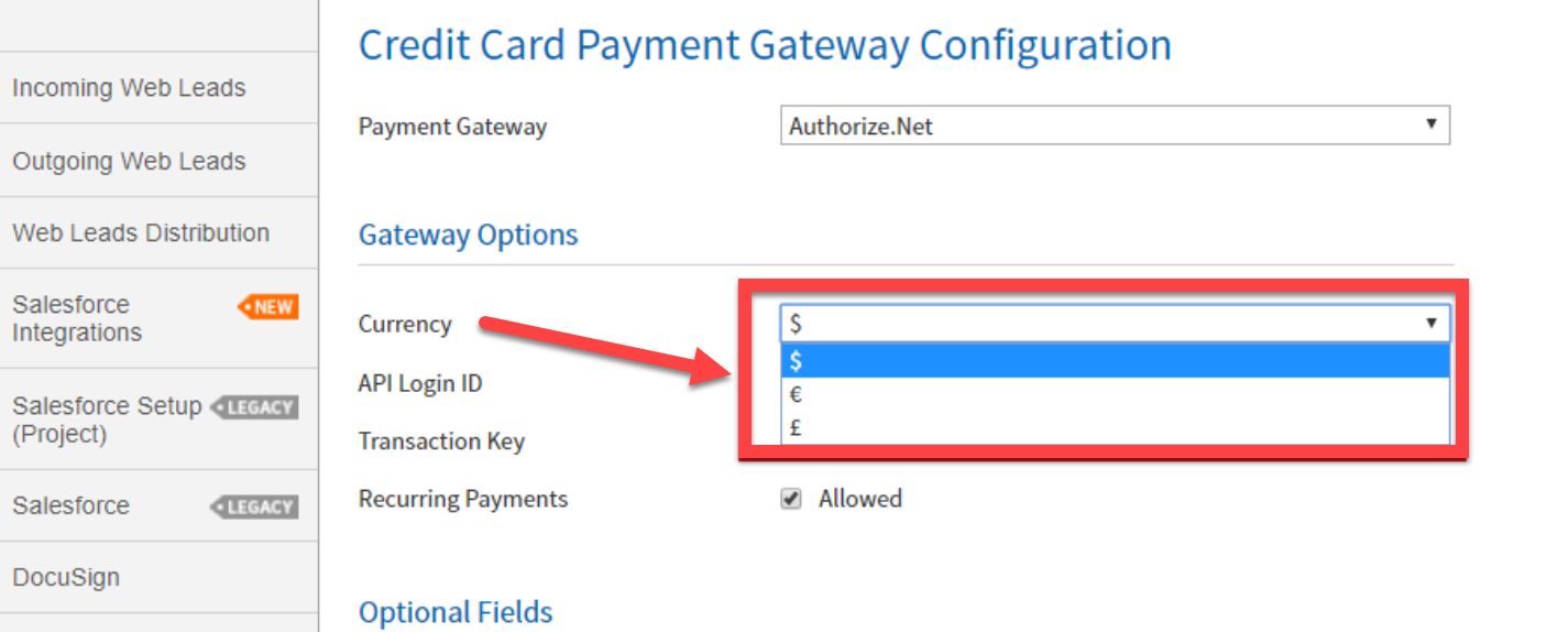 currency symbols in payment gateway feature